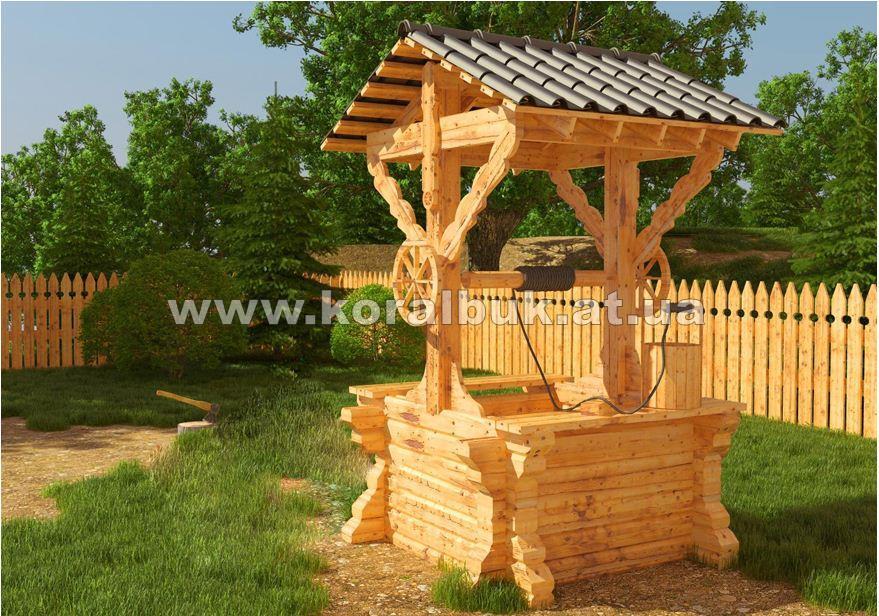 Квадратный колодец из натурального дерева